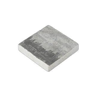 Grungy Urban City Scape Black White Stone Magnet
