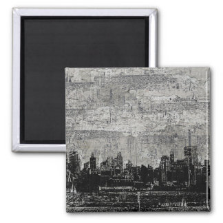 Grungy Urban City Scape Black White Refrigerator Magnets