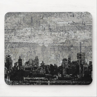 Grungy Urban City Scape Black White Mouse Pad