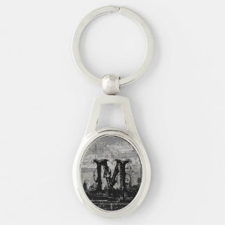 Grungy Urban City Scape Black White Silver-Colored Oval Metal Keychain