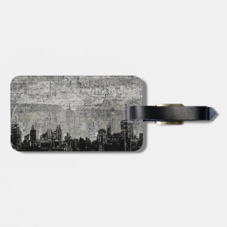 Grungy Urban City Scape Black White Tags For Luggage