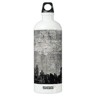 Grungy Urban City Scape Black White Water Bottle