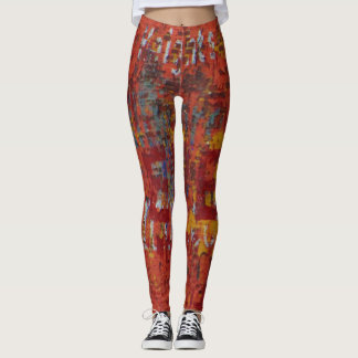 Grungy Urbex Graffiti Wall Abstract Yoga Running Leggings