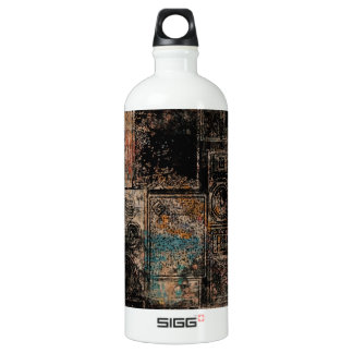 Grungy Vintage Speakers Collage Aluminum Water Bottle