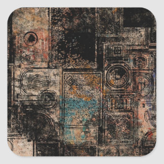Grungy Vintage Speakers Collage Square Sticker