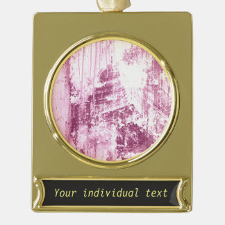 Grungy wall,pink gold plated banner ornament
