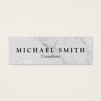 Grungy white stucco wall background mini business card