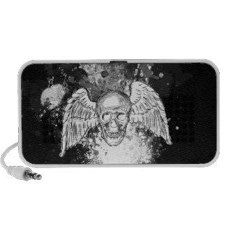 Grungy Winged Skull (Black) Doodle Speaker