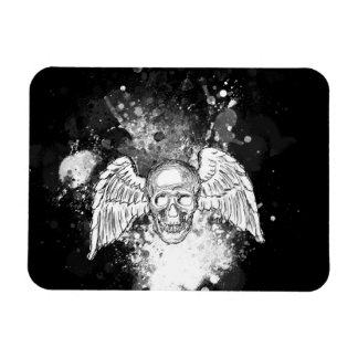Grungy Winged Skull (Black) Magnet