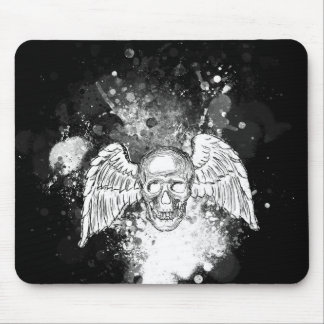 Grungy Winged Skull (Black) Mousepad