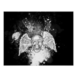 Grungy Winged Skull (Black) Poster