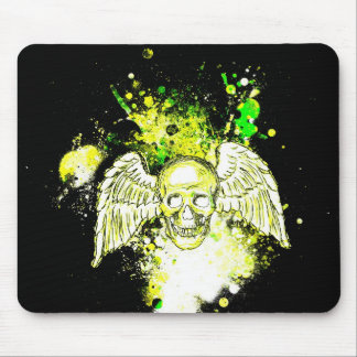 Grungy Winged Skull (Neon  Green) Mousepad