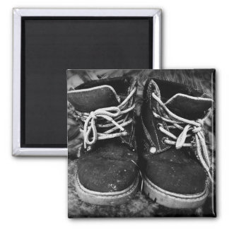 Grungy Work Boots - Black and White 2 Inch Square Magnet
