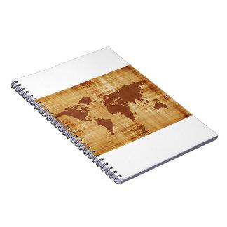 Grungy World Map Textured Notebook