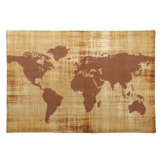 Grungy World Map Textured Cloth Placemat