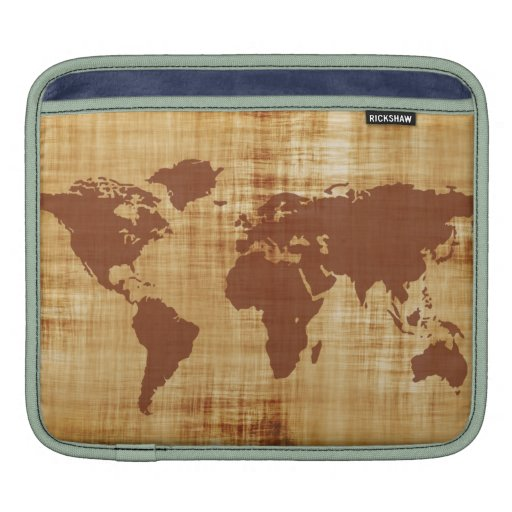 Grungy World Map Textured Sleeves For iPads