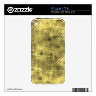 Grungy Yellow Diagonal Stripes Skins For iPhone 4