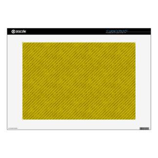 Grungy Yellow Pinstripe Laptop Skins