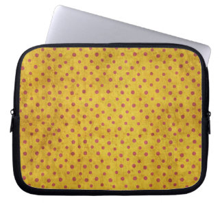 Grungy Yellow Red Polka Dot Pattern Laptop Sleeve