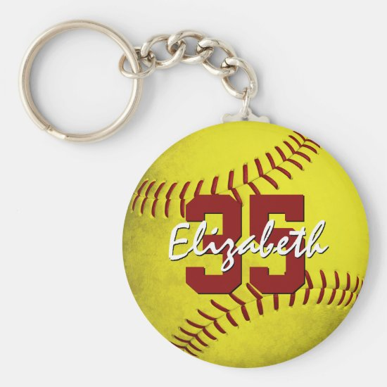 grungy yellow softball girls personalized keychain