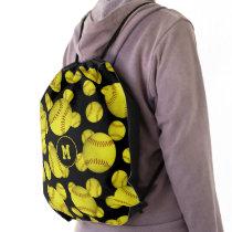 grungy yellow softballs pattern girls monogrammed drawstring bag