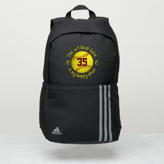 grungy yellow The softball field is my happy place Adidas Backpack
