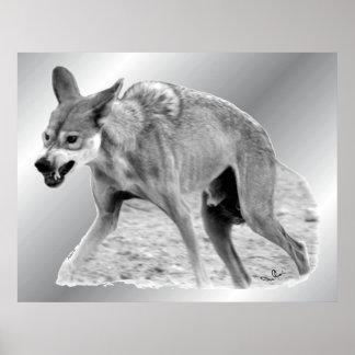 Gruñido del lobo de madera impresiones