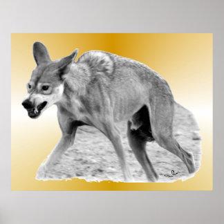 Gruñido del lobo de madera posters