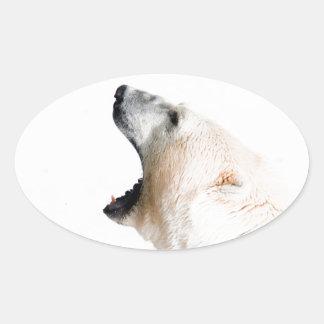 Gruñido del oso polar pegatina ovalada