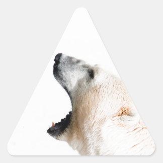 Gruñido del oso polar pegatina triangular