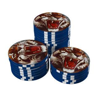 Gruñido salvaje del gruñido del tigre de los gatos juego de fichas de póquer