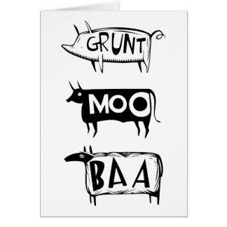 Grunt Moo Baa Card