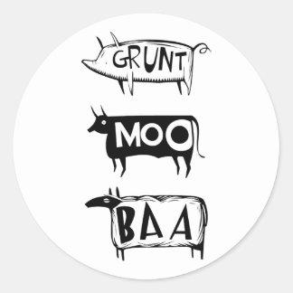 Grunt Moo Baa Classic Round Sticker