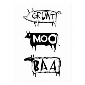 Grunt Moo Baa Postcard