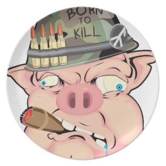 GRUNT PIG MELAMINE PLATE