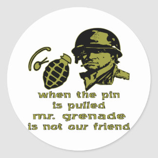 Grunt When The Pin Is Pulled Mr. Grenade Classic Round Sticker