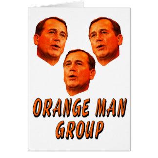 Grupo anaranjado del hombre tarjeta de felicitación