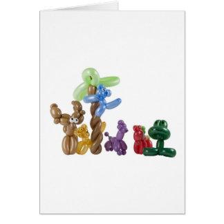 grupo animal del globo tarjeta de felicitación