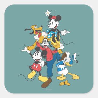 Grupo clásico de Mickey y de los amigos el   Pegatina Cuadrada