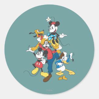 Grupo clásico de Mickey y de los amigos el   Pegatina Redonda