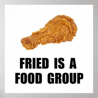 Grupo de alimentos frito póster