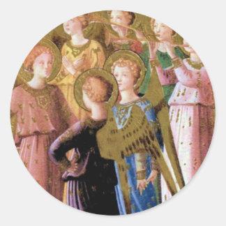 Grupo de ángeles pegatina redonda
