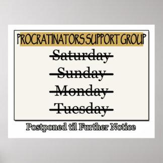 Grupo de ayuda de los Procrastinators pospuesto Poster