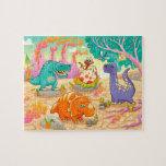 Grupo de dinosaurios divertidos en paisaje prehist puzzles con fotos