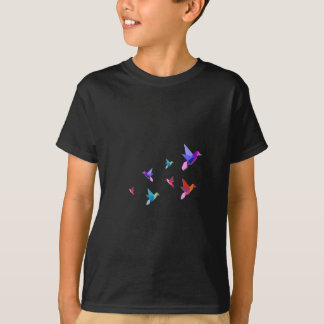 Grupo de diversos colibríes de Origami Playera