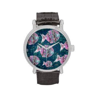 Grupo de ejemplo de los pescados relojes de pulsera