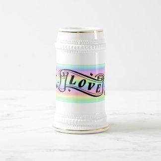 Grupo de escritura ama schmetterling en arcos iris jarra de cerveza