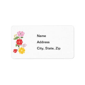 Grupo de flores en rosa rojo y oro etiquetas de dirección