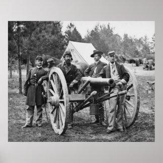 Grupo de la artillería de la guerra civil, 1860s póster