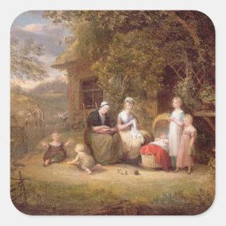 Grupo de la familia antes de una cabaña cubierta pegatina cuadrada